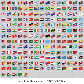 All national world waving flags with names - high quality vector flag isolated on gray background