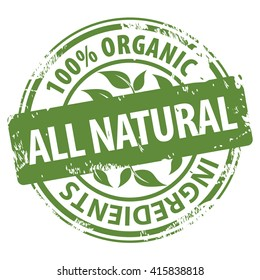 All Natural 100 percent Organic ingredients green round rubber stamp icon isolated on white background. Vector illustration
