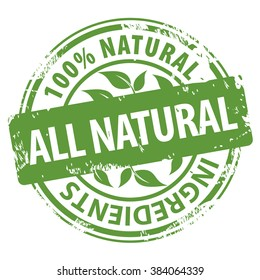 All Natural Organic Ingredients 100 percent green rubber stamp icon isolated on white background. Vector illustration