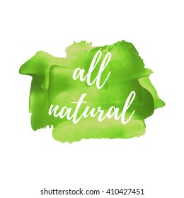 All Natural text, words, logo, card, poster, written on painted yellow background