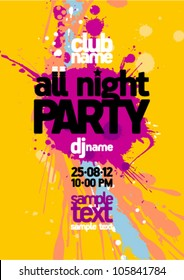 All night party design mock up, bright yellow with vibrant blots, place for text