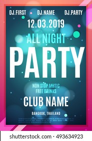All night partybright neon color poster. Vector modern template for your design