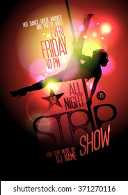 All night strip show hot poster, slim stripper woman silhouette on a pole.