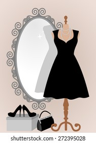 All occasion little black dress in front of decorative vintage frame mirror. Woman wardrobe accessories set, dress on a mannequin, lady purse, high heel shoes on box. vector art illustration, isolated