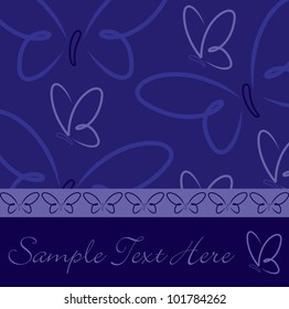 All occasion navy blue butterfly card in vector format.