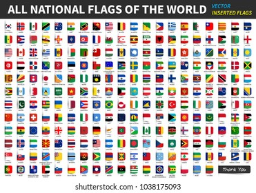 All official national flags of the world . Inserted design . Vector .
