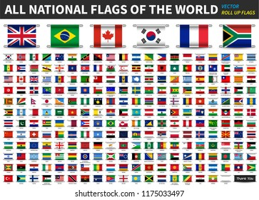 All official national flags of the world . Roll up design . Vector .