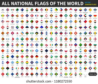 All official national flags of the world . Diamond or rhomboid shape design . Vector .