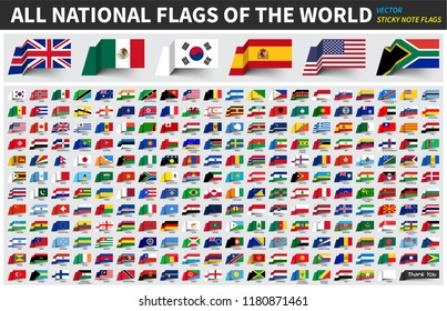 All official national flags of the world . Sticky note design . Vector .
