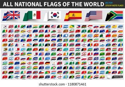 Alle offiziellen nationalen Flaggen der Welt . Sticky Note Design . Vektorgrafik.