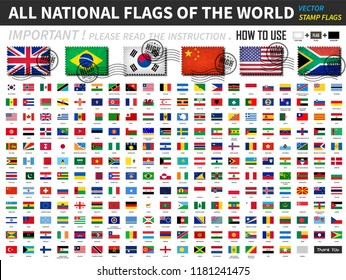 All official national flags of the world . Old stamp shape design with scratch and abrasion texture . You can apply and edit these elements ( 3 main object are texture , flag and shadow  ). Vector .