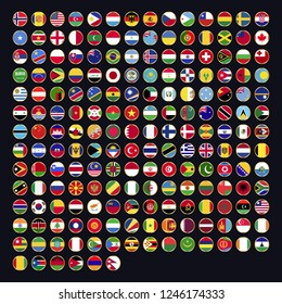All official national flags of the world . circular design . Vector . EPS 10