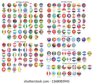 All official national flags of the world. circular design.Vector.