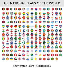 All official national flags of the world . circular design .Vector