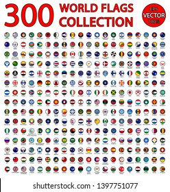 All official national flags of the world . circular design. 300 national flags of the world