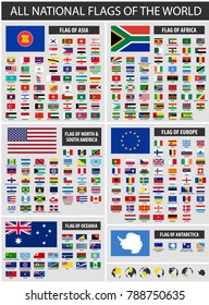 All official national flags of the world and country name . Simple style . Vector .