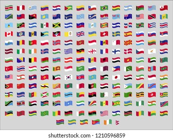All official national waving flags of the world. Square design. Vector. Eps 10