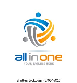 All In One Abstract People Logo Icon Elements Template