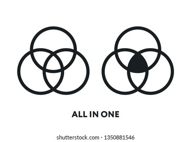 All In One. Multifunctional. Circle Ring Flat Line Vector Icon