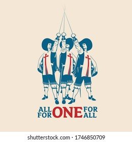 All For One For All vector illustration for commercial use such as logo, tshirt graphic, etc...