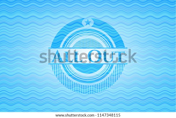 All Out light blue water badge.