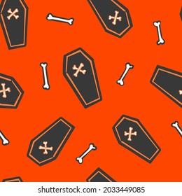 All over Halloween seamless vector repeat pattern with tossed black coffins and bones on orange background. Simple and sophisticated 4 way Halloween backdrop