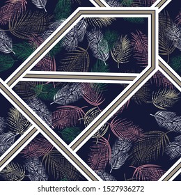 all over leaves with bandanna pattern on navy background
