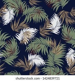 all over leaves pattern on navy background