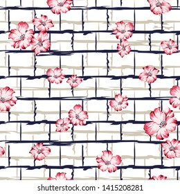 all over pink vector flowers pattern on floral texture background