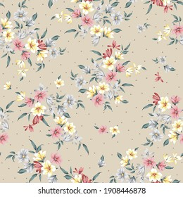all over pink yellow and grey small vector flowers pattern on cream background