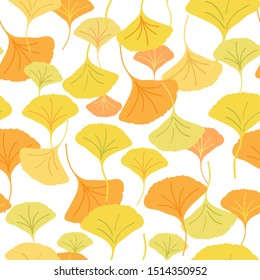 All over seamless repeat pattern with cascading ginkgo biloba leaves of different shades of yellow. Beautiful sophisticated autumnal pattern.