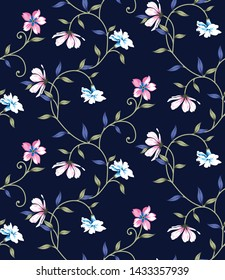 all over vector Cute floral on navy background