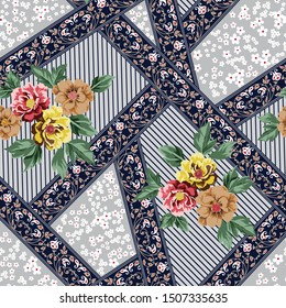 all over vector flowers bunches with bandanna pattern on grey background