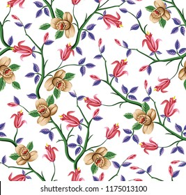 all over vector flowers pattern
