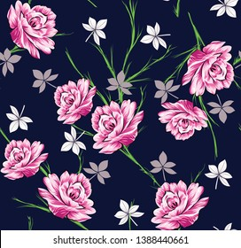 all over vector flowers pattern on navy