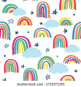 All over vector seamless repeat pattern in bright neon colors with clouds and sketched stars, thick sloppy marker rainbows and clouds