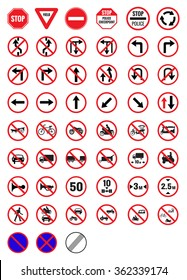 All Prohibition traffic signs vector icon