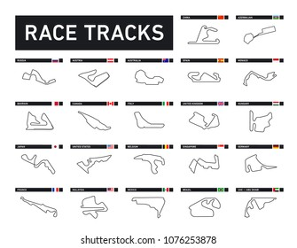 All Race tracks, circuit for motorsport and auto sport. Vector illustration roads set, collection