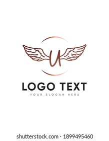 An all round lettered Angel hearts themed and unique display letter type U logo template, Vector logo for business and company identity