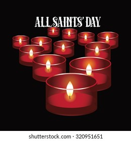 All Saints Day red votive candles design. EPS 10 vector illustration for holidays, religion, greeting card, advertising, social media, blog