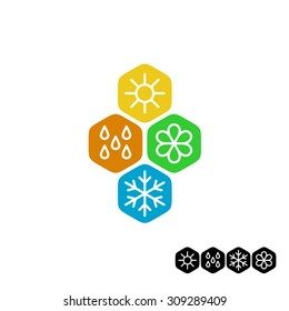 All season symbol. Winter snowflake, spring flower, summer sun, autumn rain weather signs. Linear style.