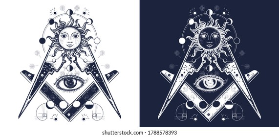 All seeing eye. Alchemy, medieval religion, occultism, spirituality and esoteric tattoo. Magic eye t-shirt design. Mysteries of knowledge. Black and white vector graphics