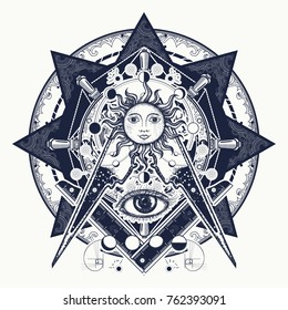 All seeing eye. Alchemy, medieval religion, occultism, spirituality and esoteric. Mysteries of knowledge of mankind. Masonic symbol tattoo and t-shirt design