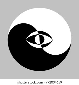 All seeing eye in the center of the Esoteric Yin and Yang decorative symbol. Vector illustration EPS-8.
