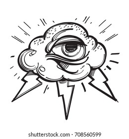 All seeing eye with cloud and lightnings. Outline vector illustration isolated on white background for creating sketches of tattoos, printing on T-shirts and other items.