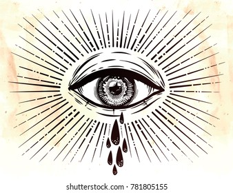 All seeing eye crying watery tears. Sadness look. Alchemy, religion, spirituality, occultism, tattoo art. Isolated vector illustration. Conspiracy theory. Decorative drawing in flash tattoo style.