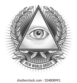 All seeing eye in delta triangle. Pyramid and freemasonry icon, new world order emblem, vector illustration
