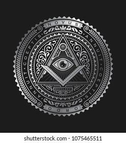 All Seeing Eye Emblem Badge Vector Logo Metallic