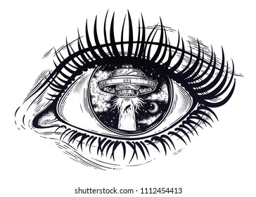 All seeing eye with fantastic Alien Spaceship. UFO abduction of a human with flying saucer. Conspiracy theory concept, tattoo art. Isolated vector illustration.