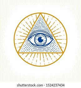 All seeing eye of god in sacred geometry triangle, masonry and illuminati symbol, vector logo or emblem design element.